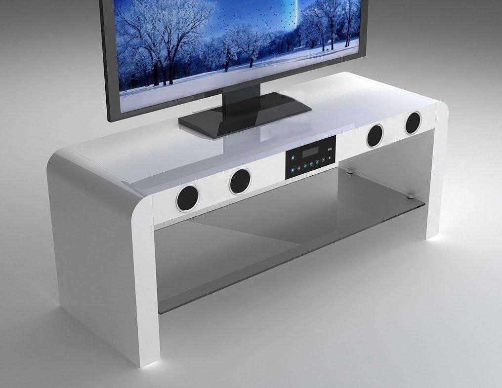 Meuble Tv Blanc Brillant Avec Haut Parleurs Bluetooth Integre Et Musique Usb Play Amazon Fr Jardin