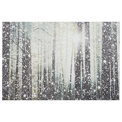 Modern Silver and White Forest Print on Canvas, 36'' x 24'' by Stone & Beam