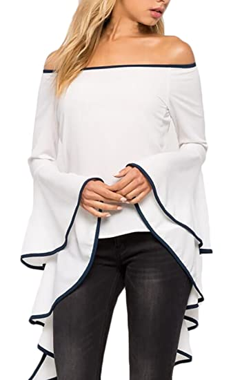 Blusa Mujer Elegante Clásico Especial Primavera Verano Barco Cuello Acampanados Manga Larga Blanco Blusas Asimetricas Moda