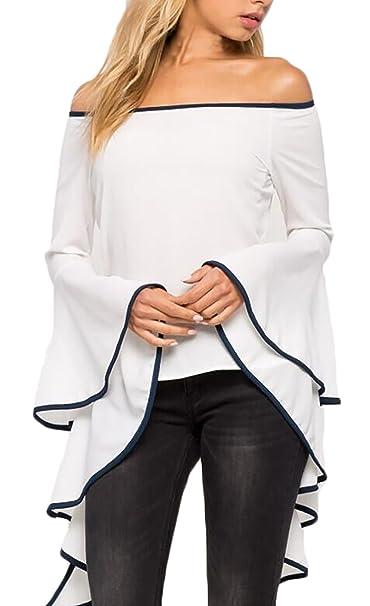 Mujer Tops Elegante Primavera Verano Barco Cuello Acampanados Dulce Lindo Chic Larga Blanco Blusas Asimetricas Moda