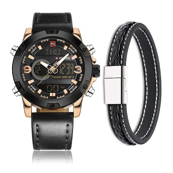Naviforce reloj de los hombres del deporte militar moda analógico Digital reloj de pulsera, correa