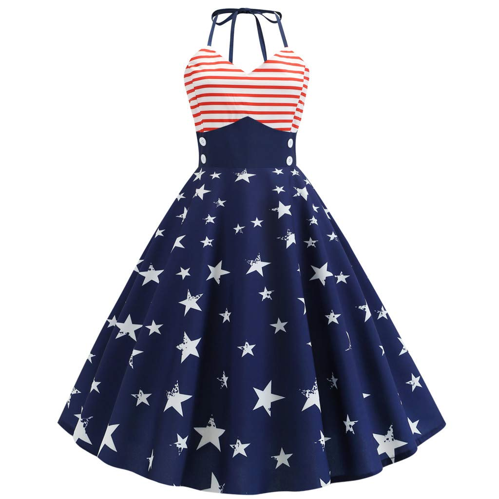 Peigen Women Vintage Sleeveless Dress Halter Neck American Flag Printed Evening Party Prom Swing Dress Loose Maxi Long Dress
