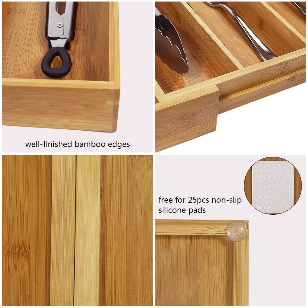 Amazon.com: Monpearl Organizador de cajones de bambú ...