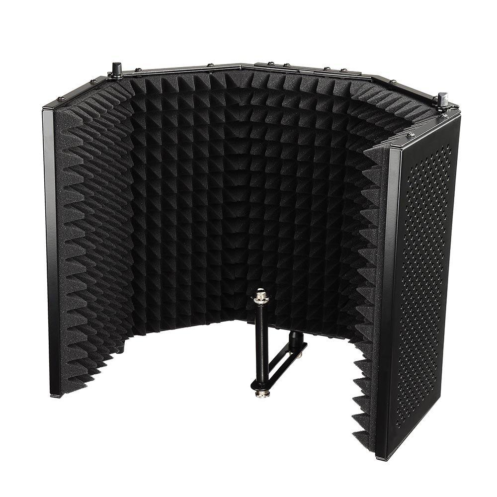 AW Pro Compact Recording Studio Microphone Isolator Panel Studio Mic Sound 5/8' Thread Black AW-SMS000002