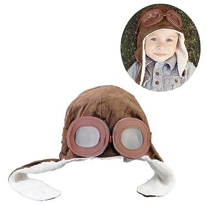 0dc27fed8e673 Nuevo bebé del invierno con orejeras Piloto Aviador Cap-Brown ...