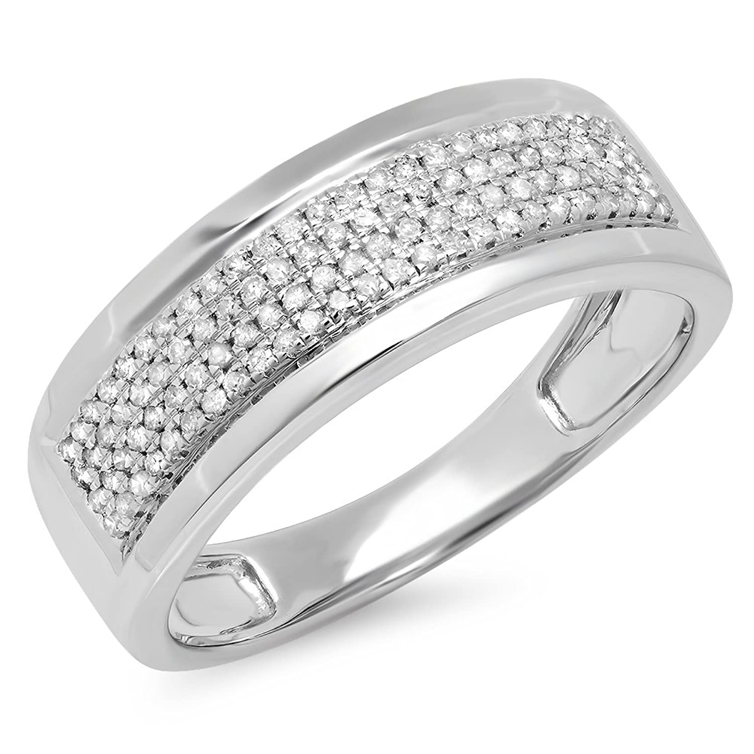 0.40 Carat (ctw) Sterling Silver Real Round Cut Diamond Men's Flashy Pinky Wedding Ring