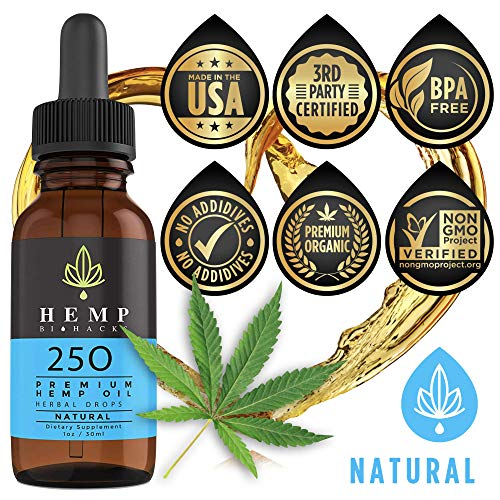 Hemp Oil for Anxiety, Pain - Organic Relief from Joint & Back Pain, Insomnia & Stress - Natural Anti Inflammatory - Supports Relaxation, Sports Recovery & Sleep by Hemp BioHacks