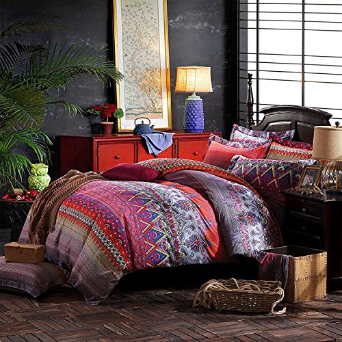 FADFAY Colorful Bohemian Ethnic Style Bedding Boho Duvet Cover Bohemian Sheet Sets Baroque Style Bedding 4 Pcs (Twin XL, Flat Sheet) by FADFAY (Image #2)'