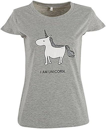 Aardvark Art Camisa de Mujer con Unicornio Camisetas Playeras Sudadera de Verano Manga Corta Playeras Estampadas Pijama (L, Gris): Amazon.es: Ropa y accesorios