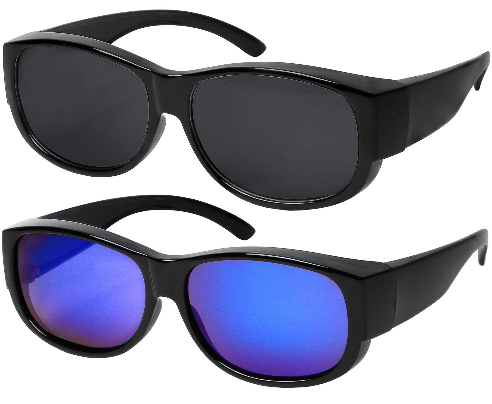 Fit Over Sunglasses With Polarized Lens 100% UV Protection Wear Over Prescription Eyeglasses Set of Smoke and Blue Mirror