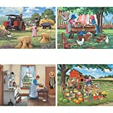 Bits and Pieces - Set of Four (4) 300 Piece Jigsaw Puzzles for Adults - Women on the Farm - 300 pc Country Lifestyle Jigsaws by Artist John Sloane