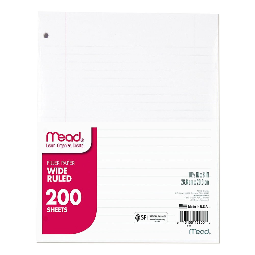 Mead Loose Leaf Paper, Filler Paper, Wide Ruled, 200 Sheets, 10-1/2'' x 8'', 3 Hole Punched, 1 Pack (15200)