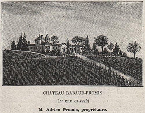 Vin Grand Cru - GRANDS VINS BLANCS. BOMMES. Chateau Rabaud-Promis (1er Cru Classé). SMALL - 1908 - old print - antique print - vintage print - Gironde art prints