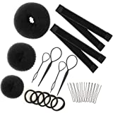 Hair Bun Maker Set Brown/Blonde/Black, The EASIEST Way to Make Buns, 3 Donuts + 2 Snap Bun Makers + 4 Topsy Tail Hair…