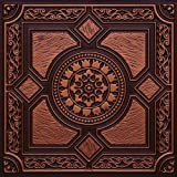 "Faux Antique Copper #303ur Plastic Ul Rated Ceiling Tile Flat Design Can Be Glue on Clean Smooth Flath Surface, Also Can Glued Over Popcorn Ceiling 24""x24"" with Overlaping Edges. Fire Rated!"