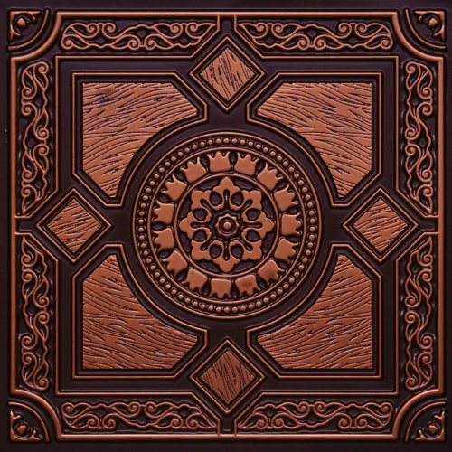 amazoncom faux antique copper 303ur plastic ul rated ceiling tile flat design can be glue on clean smooth flath surface also can glued over popcorn
