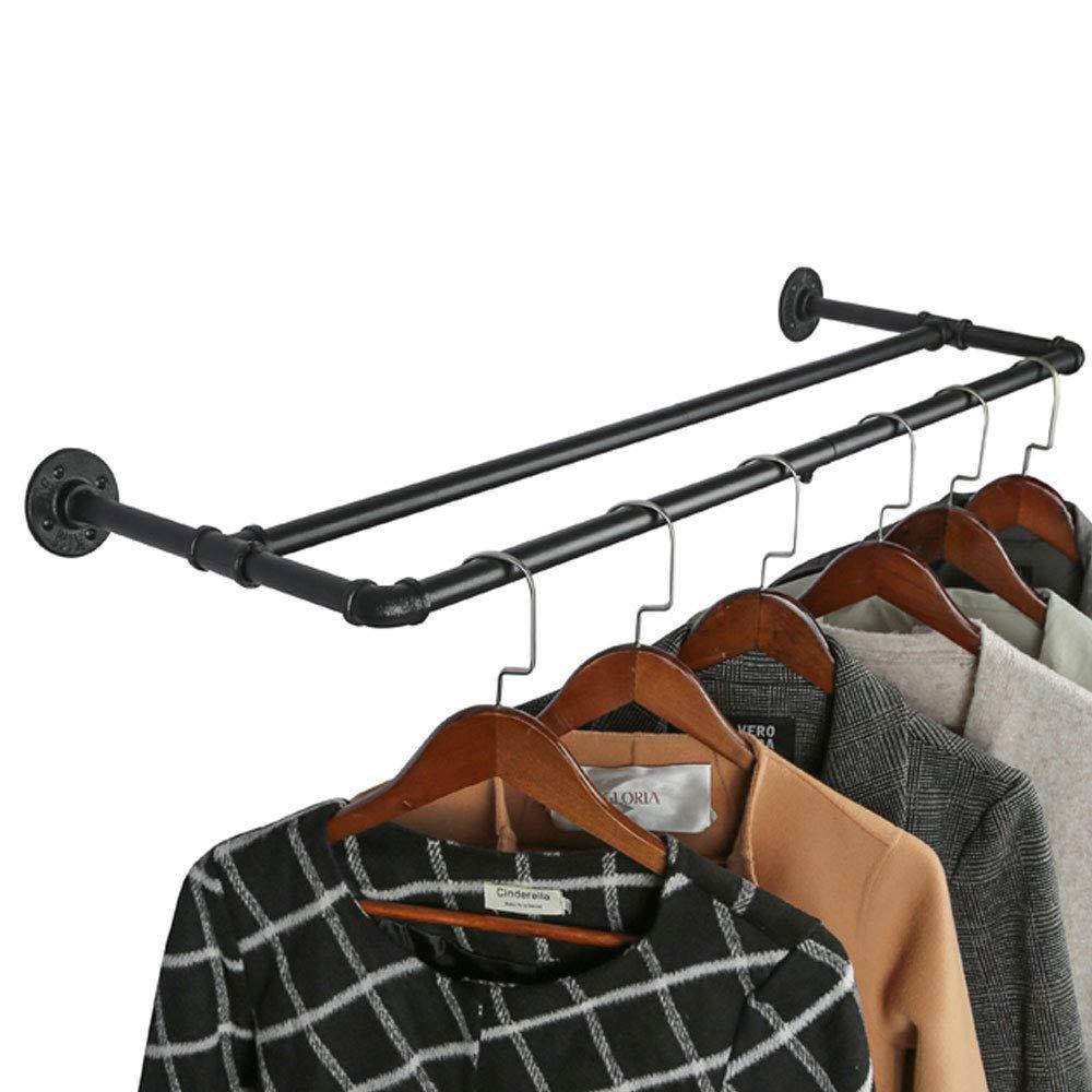 Industrieller Stil Rohr-Kleidergestell an der Wand befestigte abnehmbare Retro Metallkleiderstangen-h/ängende Schiene Fe20six