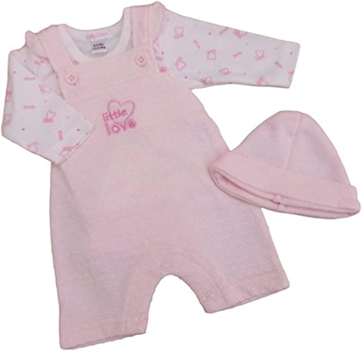 with Tags Baby Girl Premature Preemie Tiny prem 3 Piece Dungaree Clothes