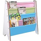 Yescom Wooden Kids Book Shelf Sling Storage Rack Organizer Bookcase Display Holder Nursery Room White