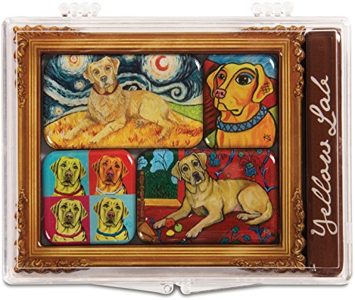 Pavilion Gift Company 12002 Paw Palettes 6-Piece Mini Masterpiece Magnet Set, 4 by 3-1/2-Inch, Yellow Lab (Magnet Artists Palette)