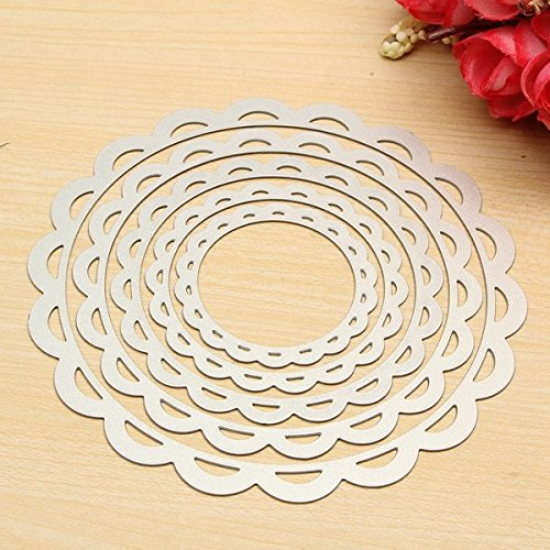 Hiquty 5 Pcs Flower Circle Set Scrapbooking Dies Cutting Frame Decorative Nesting - Frame Sizes Michaels Square