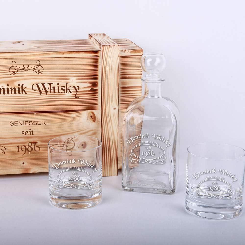 Whisky-Set mit Gravur und Holzkiste