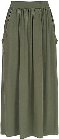 Styleboom Fashion - Falda larga para mujer, elástica, color verde ...