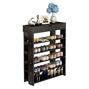 soges 5-Tier Shoe Rack 29.5 inches Wooden Shoe Storage Shelf Shoe Organizer, Black L24-XBK