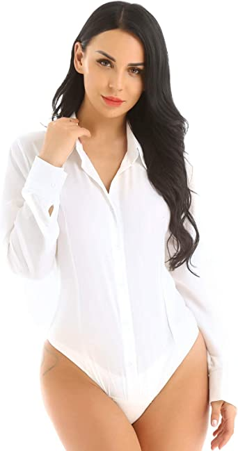MSemis Body Camisa Sexy para Mujer Camisa de Vestir Blusa Manga Larga Bodis Camiseta Elegante Mono Bodycon Traje Formal Oficina Color Sólido Maillot Camiseta Body: Amazon.es: Ropa y accesorios