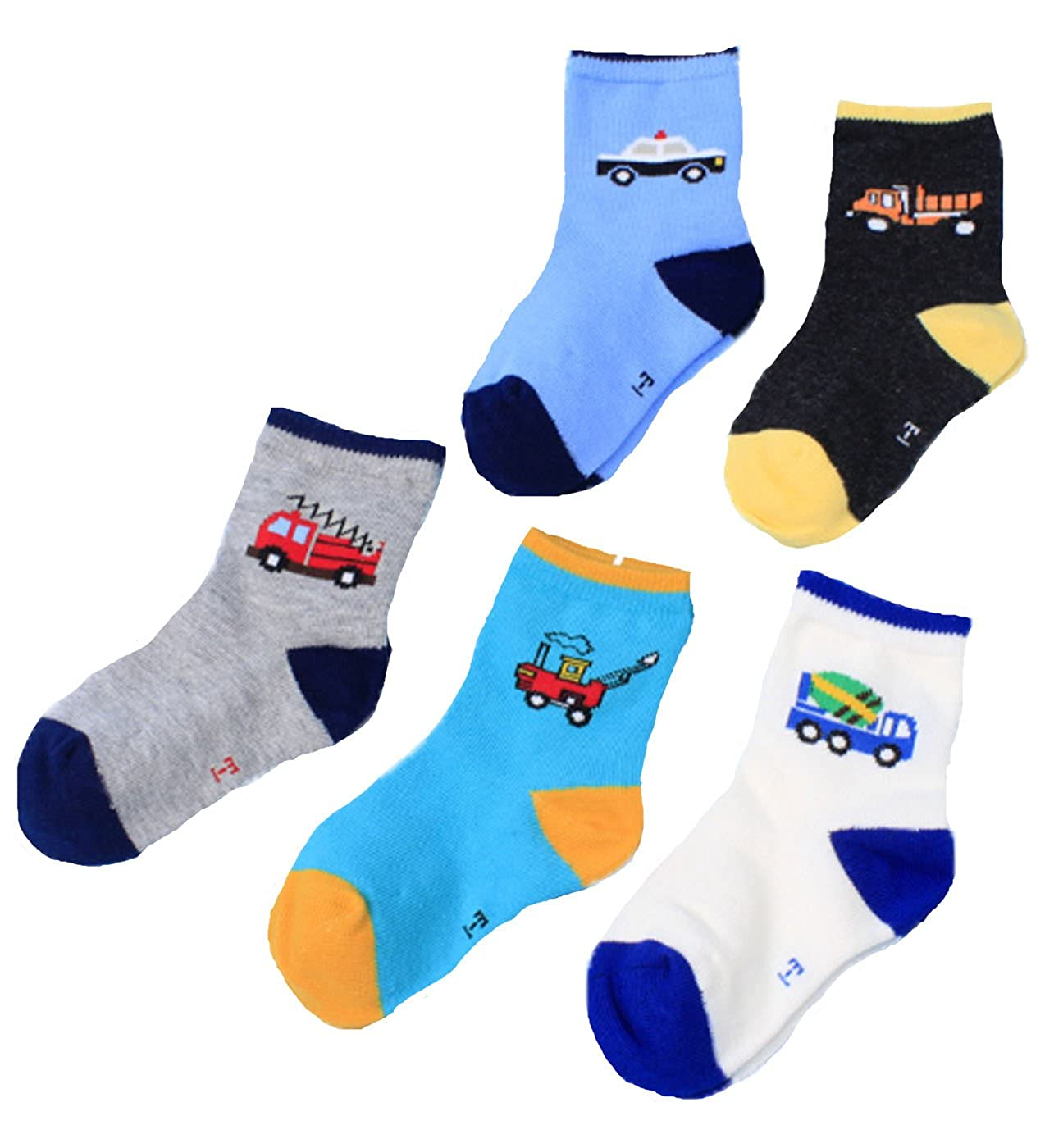 Mingming Little Boys' Carton Car Socks (Pack of 5)