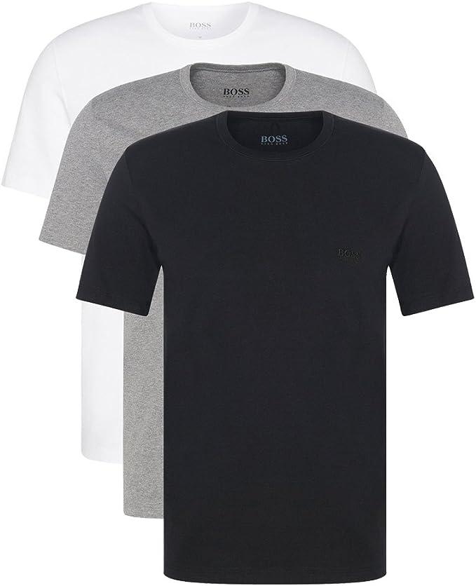 Hugo Boss - Juego de 3 camisetas (cuello redondo, manga corta, corte regular), color blanco o negro Farbmix weiss, grau, schwarz medium: Amazon.es: Ropa y accesorios