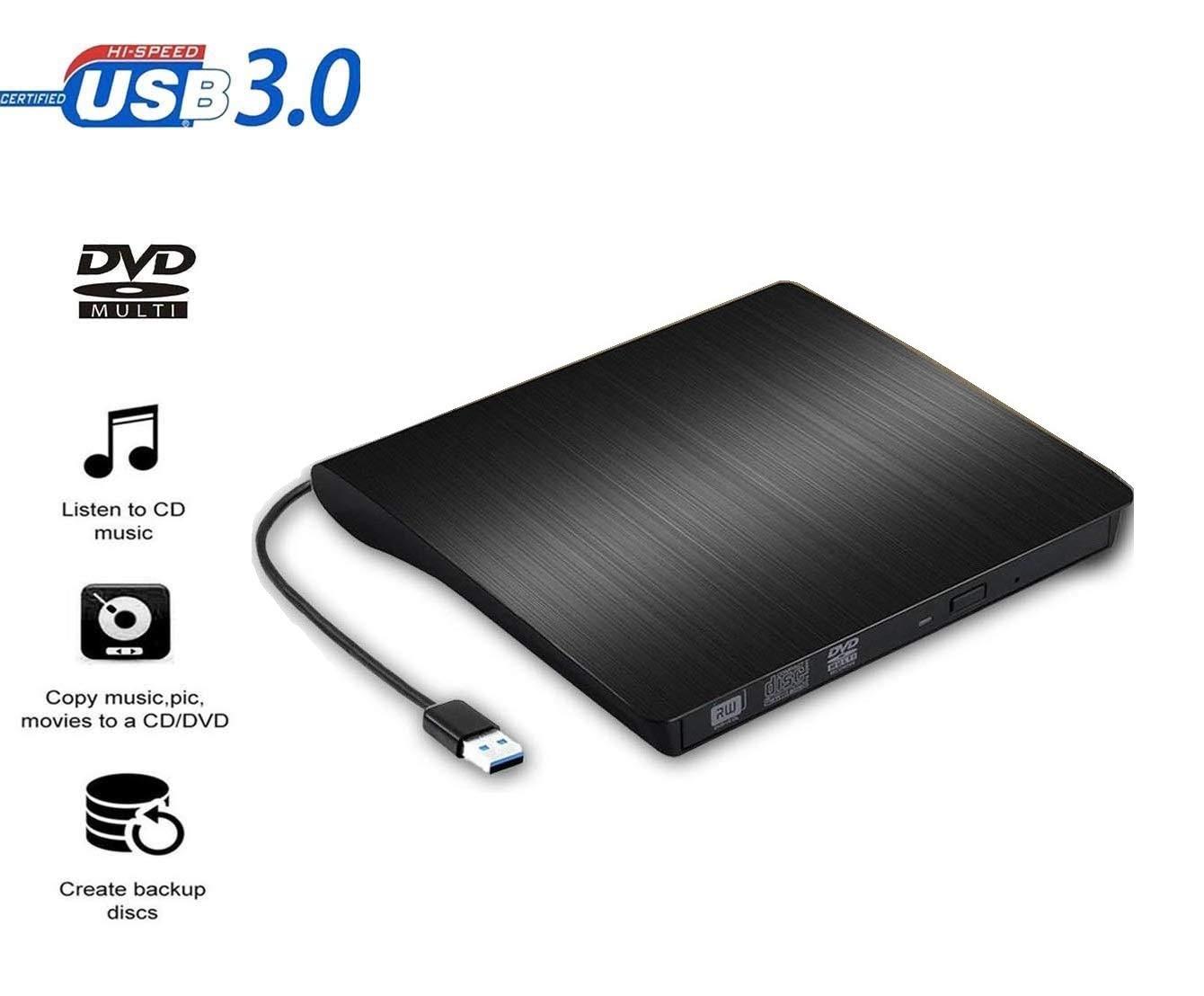Grabador DVD Externo USB 3.0 | Lector DVD Externo Transferencia de Datos de Alta Velocidad para PC Computadora portátil Computadora de Escritorio MacBook ...