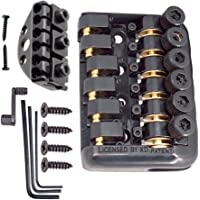 MagiDeal A Set 6 String Fixed Bridge Tailpiece with Wrench Lock Nut Screws for Headless Electric Guitar Parts
