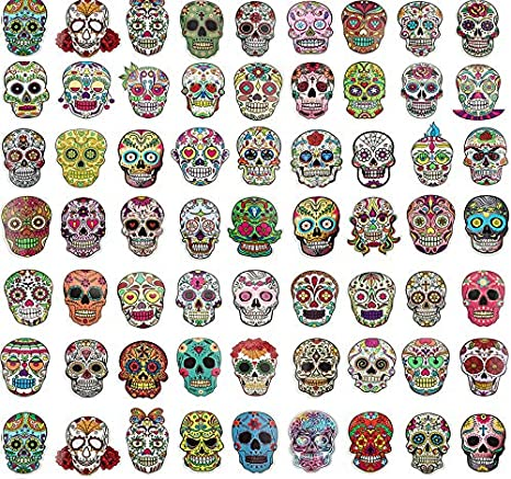 Day of the Dead 1 Pack = 3 Decals Sugar Skull Black Decal Sticker DOD11