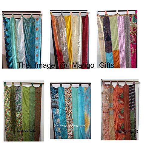 Mango Gifts India Old Sari Multicolor Curtain Door Drape 6 Pieces Lot (Assorted) (India Curtain Panels)