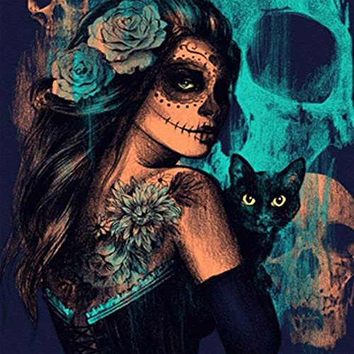 Adarl DIY 5D Diamond Painting by Number Kit, Halloween Witch with Black Cat Crystal Rhinestone Embroidery Cross Stitch Supply Arts Craft Canvas Wall Decor (Black Cat Cross Stitch)