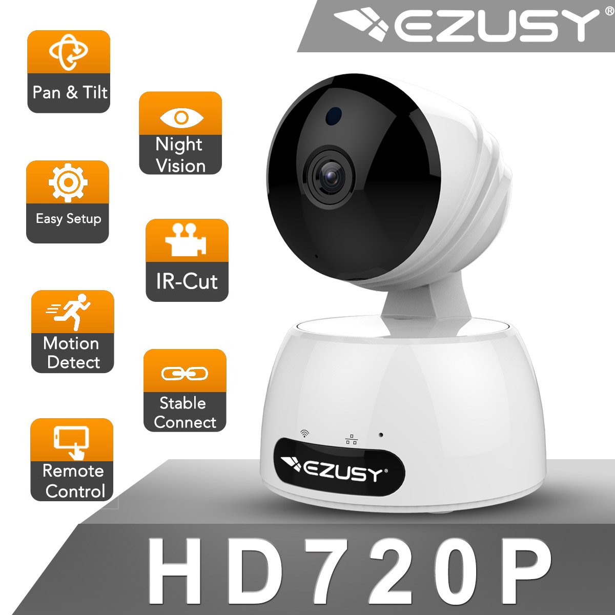 EZUSY 720P Wireless Security Camera, HD WiFi Security Surveillance IP Camera Home Monitor with Plug/Play, Pan/Tilt Motion Detection Two-Way Audio & Night Vision