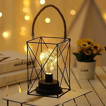 Prosperveil - Lámpara de mesa de hierro forjado industrial con alambre de metal para mesilla de noche, funciona con pilas, lámpara de escritorio para dormitorio, sala de estar, decoración: Amazon.es: Iluminación