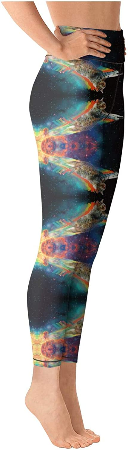 Womens Astronaut Cat in Galaxy Space Yoga Pants Super Soft Yoga Leggings with Pockets
