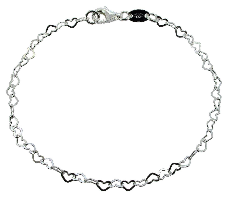Sterling Silver Ladies 11 CJoL 28cm Flat Heart Link Anklet In Simple Gift Bag 2g
