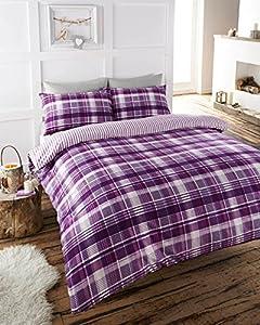 100% BRUSHED COTTON FLANNELETTE CHECKED DUVET COVER BED SET PURPLE/PLUM ( Double)