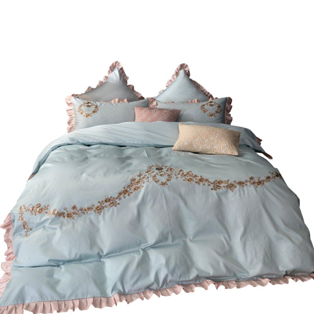 60 年代の 誕生日 国内在庫 お祝い 4 個セット定番綿刺繍ヨーロッパ アメリカの純粋なウール刺繍ベッド製品 46 個セット B07CBQY3CP 200x230cm キット-D D 79x91inch 完全キルト 1.8