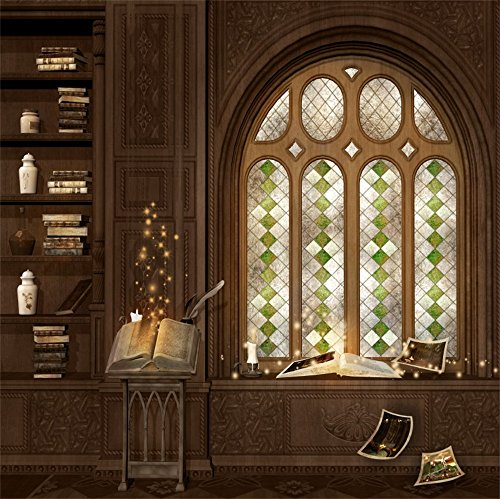 (LFEEY 8x8ft Magic Library Photo Backdrop Fantasy Luxury Home Magical Book Retro Arch Window Study Castle Interior Photography Background Photo Studio Props)