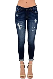 ef52a91444ebd KAN CAN Kancan Women's Mid Rise Destroyed Cropped Skinny Jeans KC6050
