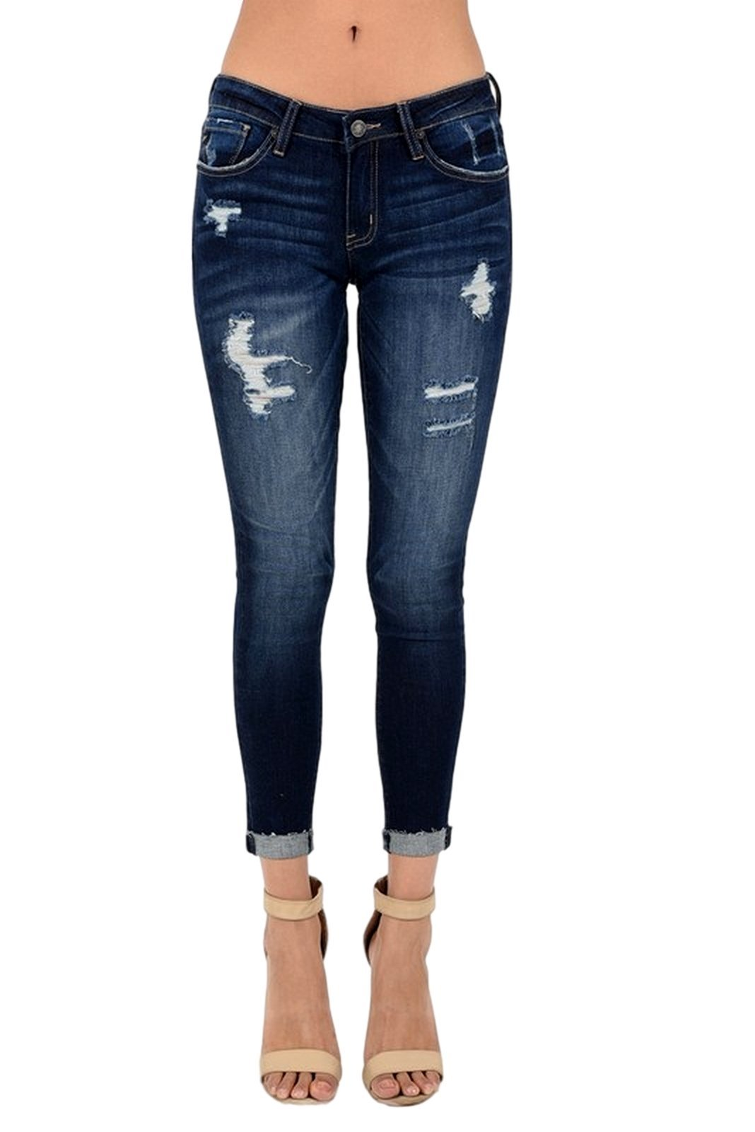 KAN CAN Women's Mid Rise Destroyed Cropped Skinny Jeans 3 Dark Denim KC6050
