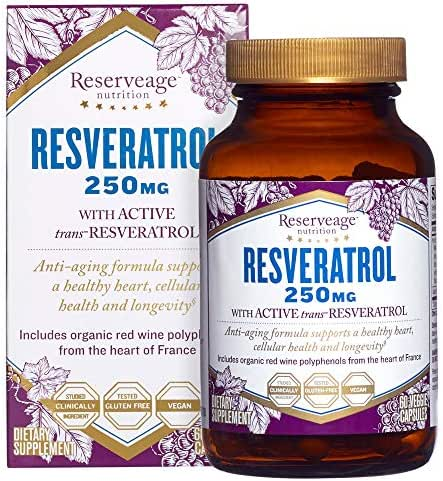 Reserveage, Resveratrol 250 mg, Antioxidant Supplement for Heart and Cellular Health, Supports Healthy Aging, Paleo, Keto, 60 capsules (60 servings)