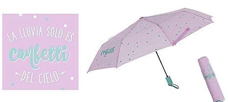 "paraguas plegable frase: ""la lluvia solo es confetti del cielo"" ..."
