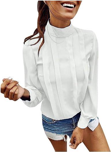 Linkay - Camisa de Manga Larga para Mujer, Estilo Informal, con botón en T Blanco S: Amazon.es: Ropa y accesorios