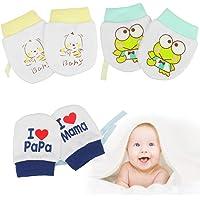 SNAGAROG Manoplas para bebés recién nacidos de 3 pares Manoplas para bebés de algodón orgánico Manoplas ajustables para…