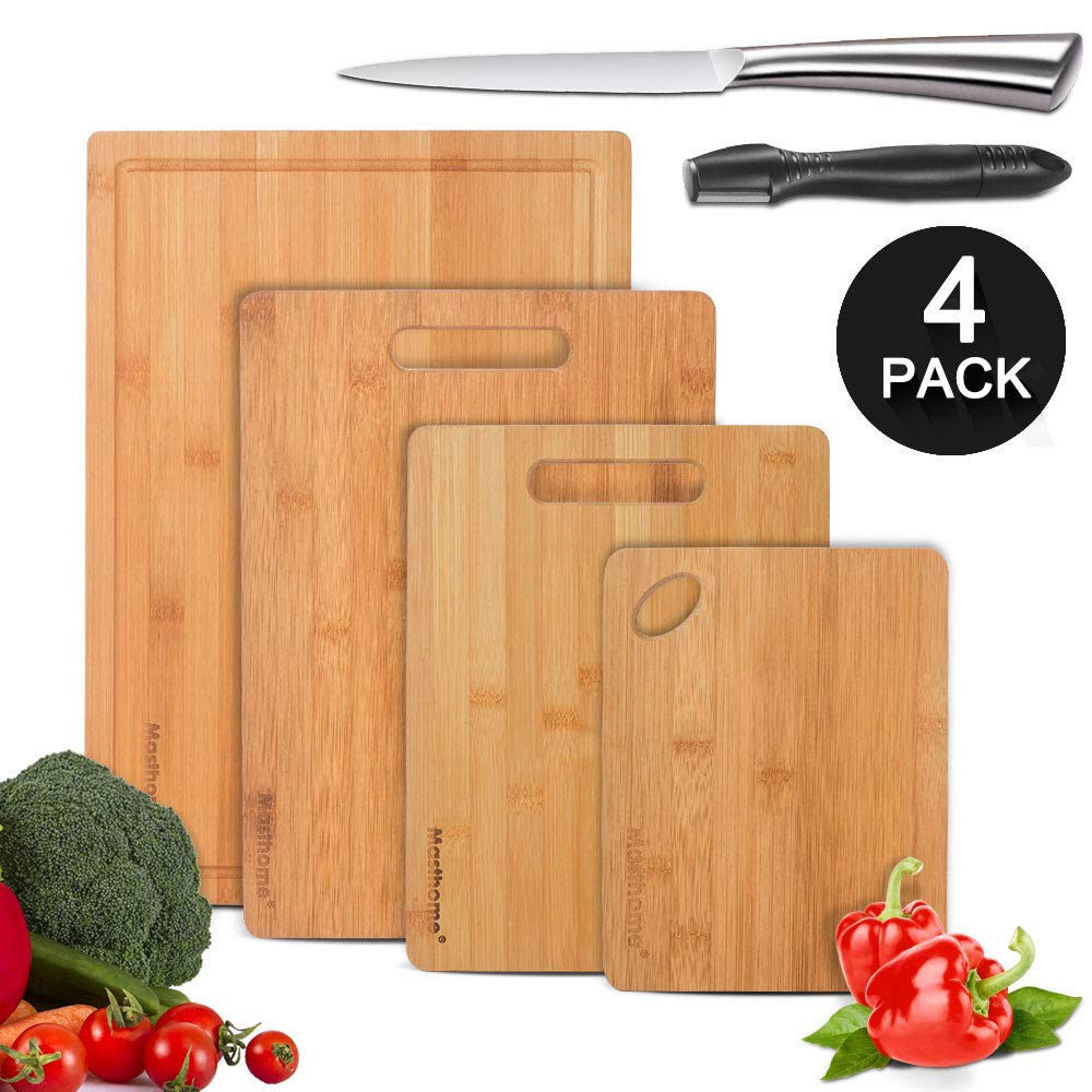 Bamboo Cutting Board Set of 4 Multi Size Multifunctional Kitchen Cutting Boards Kit for Food Prep with 1Pc Sharpener and Fruit Knives